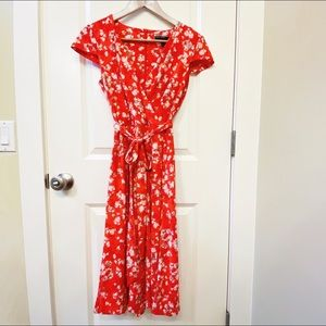 Maggy London Red Cap Sleeve Floral Midi Dress